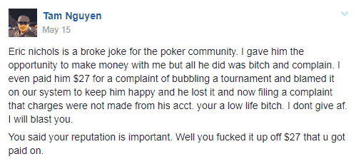 Facebook Post by Jao Poker Director Tam Nguyen