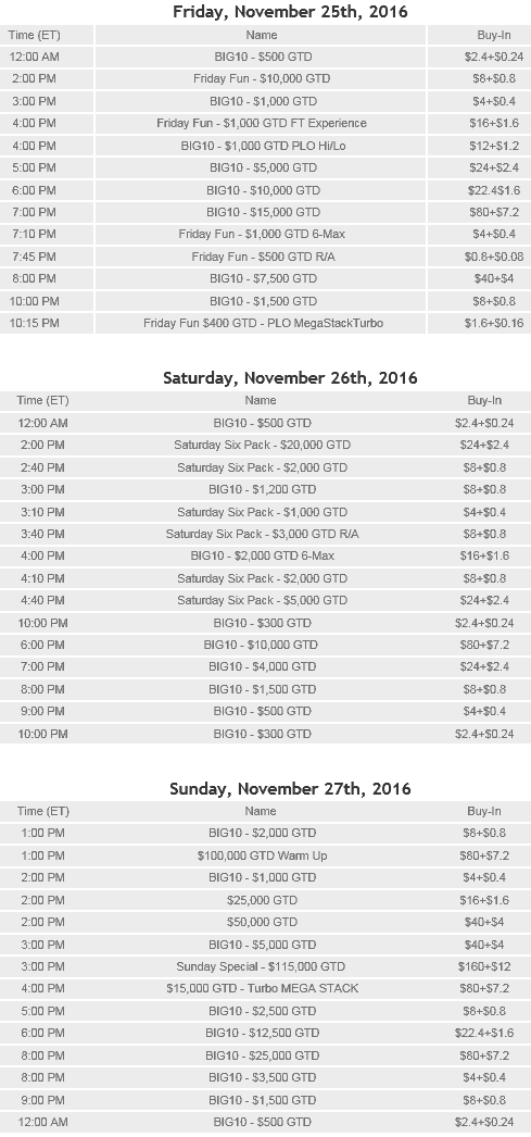 WPN 2016 Thanksgiving discount tournaments