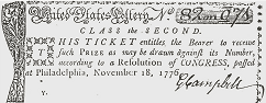 Ticket for Revolutionary War Lotto