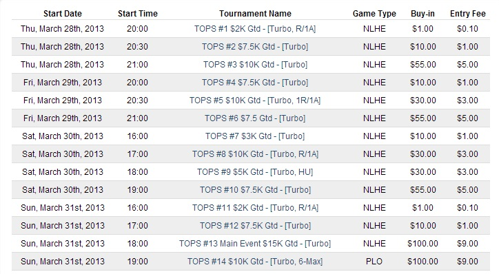 Merge Gaming Network online tournament (Turbo OPs) schedule