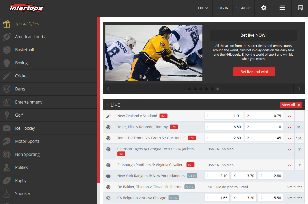 Intertops Poker Sportsbook Redesign